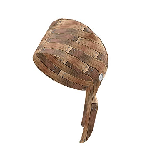 Working Cap Wooden Planks Pattern Board Wall Printed Upgrade Sweatband Adjustable with Buttons Tie Back Hats Bouffant Head Covers for Women Men