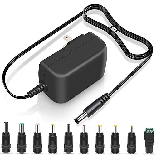 12V 3A 2.5A AC/DC Adapter ETL Listed 36W Universal Switching Power Supply 10 Multi Jacks Adaptor Replacement Regulated Charger for Humidifier Camera Speaker Monitor LED Strip Power Cord Transformer