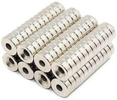 JRUIAN Drucker-Zubehör, 3D-Drucker-Teile für Reprap Delta Kossel K800, rund, Super Spezial Magnethalter, versenkter Magnet, gestapelt, 3D-Druck-Zubehör, 12 Stück