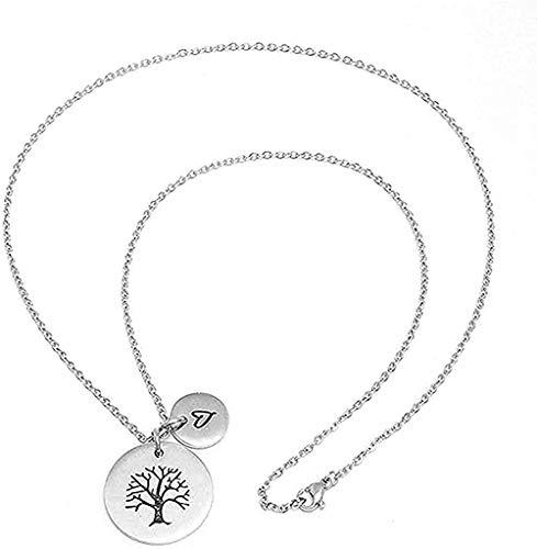 ZGYFJCH Co.,ltd Collar Objeto decoración Tallado Espejo corazón árbol de la Vida Mapa Redondo Colgante Collar de Acero de Titanio para Mujeres Hombres Regalos
