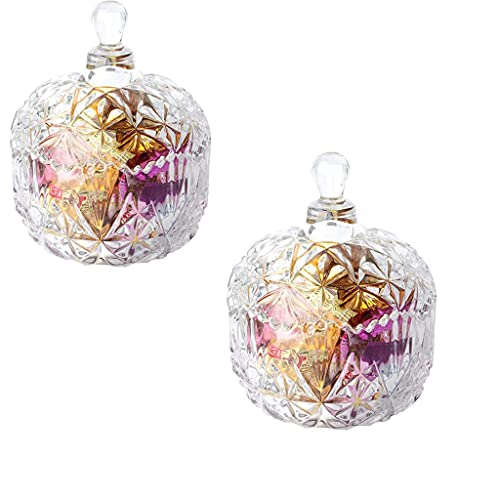 Annfly 2PCS Glass Sweet Bowl Bonbon Candy Dish with Lid Crystal Effect Clear Glass Transparent Sugar Bowl Decorative Glass Chocolate Jar Box (5.1x5.1in)