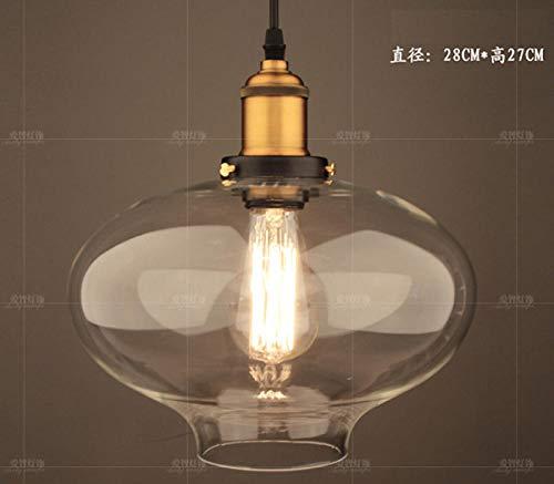 Hanglamp met enkele kop, van Amerikaans glas, retro-stijl, E27, als decoratie om zelf te maken, loft, vintage, LED-verlichting, D28 cm, H27 cm, barnsteenglas