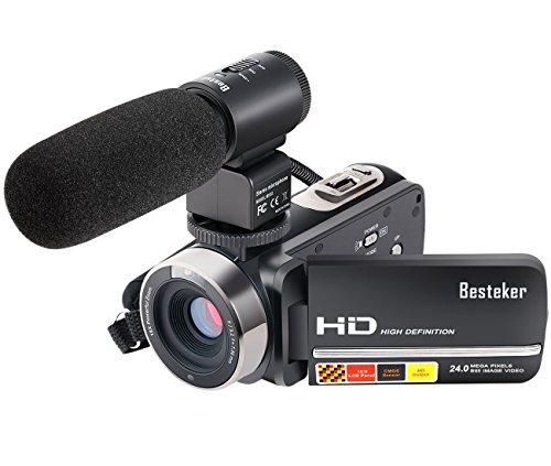 Kamera Camcorder, Besteker FHD 16X Digitales Zoom Videokamera Max 24,0 Megapixeln Gesichtserkennung Infrarot-Nachtsicht Fernbedienung mit 3,0 Drehbarem TFT-LCD-Touchscreen und Externem Mikrofon