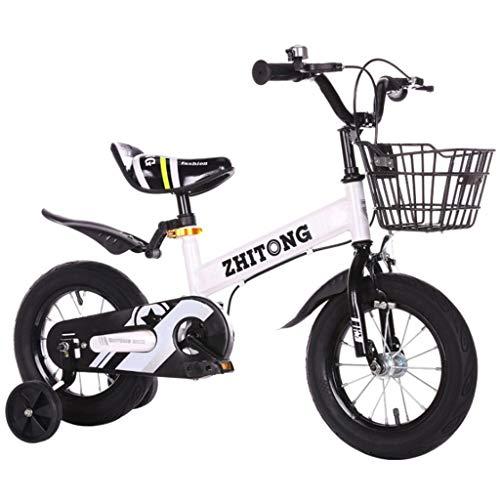 LDDLDG - Bicicleta infantil con ruedas de apoyo para niños (marco de acero, 12, 14, 16 y 18 pulgadas, con rueda de apoyo y base (color blanco, tamaño: 14 pulgadas)