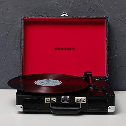QIAO Tocadiscos de Vinilo Retro, fonógrafo Bluetooth portátil, Tocadiscos con Tocadiscos de 3 velocidades con Altavoces estéreo incorporados,Negro