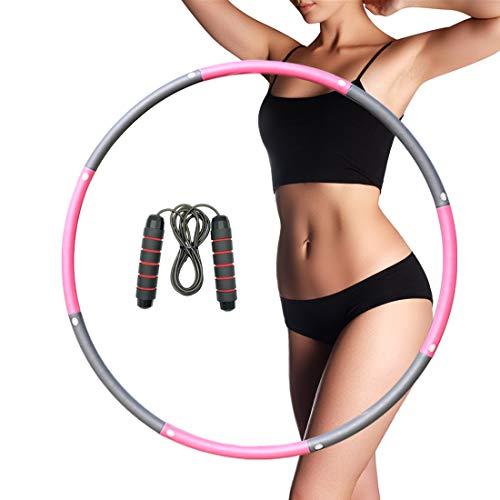 Hula Hoop Reifen, Fitness Hula Hoop für Erwachsene & Kinder zur Gewichtsabnahme und Massage, EIN 6-8-Teiliger Abnehmbarer Hoola Hoop Reifen für Fitness zur Bauchformung/Zuhause/Büro mit Springseil