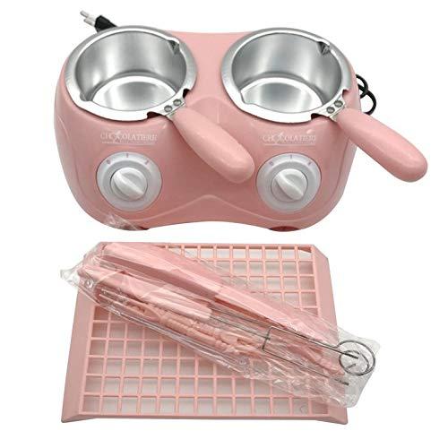 QiKun-Home - Fornello a doppio forno per fusione al cioccolato, riscaldamento a temperatura del vaso di fusione, per sciogliere la macchina di sciogliere il vaso di fusione rosa