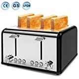 Toaster 4 Slice, Morpilot Toaster Stainless Steel Toaster, 1.5''Extra Wide 4 Slots Four Slice 6 Bread Shade Settings with Reheat Defrost Cancel Function (Black)