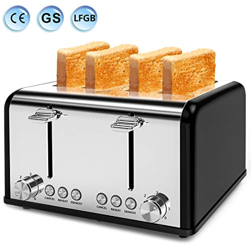Toaster 4 Slice, Morpilot Toaster Stainless Steel Toaster, 1.5''Extra Wide 4...