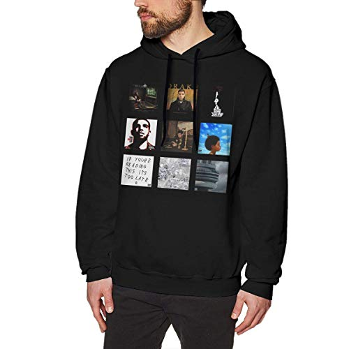 Ytdbh Sudadera con Capucha Hombre, Men's Hoodie Sweatshirt Old-Drake Cotton Sweater Black
