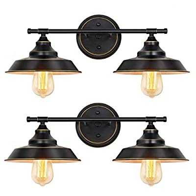 HAITRAL Bathroom Light Fixtures 2 Pack- 2 Lights Wall Sconces with Black Metal Shade & Brass Rim Highlight, Bathroom Vanity Light Fixtures for Bathroom Kitchen Farmhouse Living Room Indoor-Black