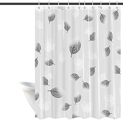 Duschvorhang, Anti-Schimmel Wasserdichter 180x200cm Waschbar Anti-Bakteriell Badewanne Vorhang mit Duschvorhängeringen, Weiß Transparent Duschvorhang