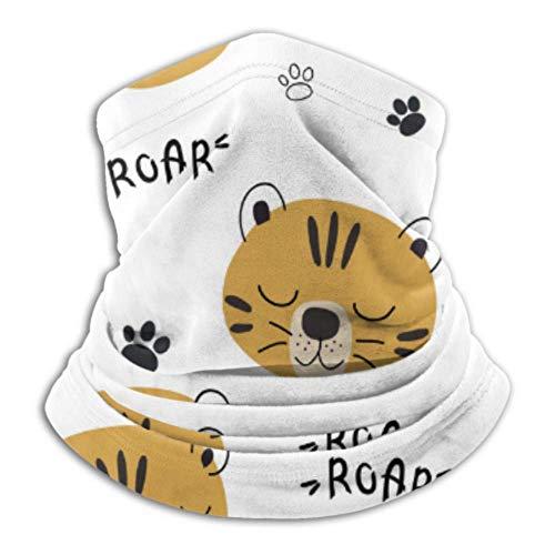 hangong Calentador de cuello de microfibra, tubo de polaina, calentador de orejas, máscara facial, diseño de tigre S divertido