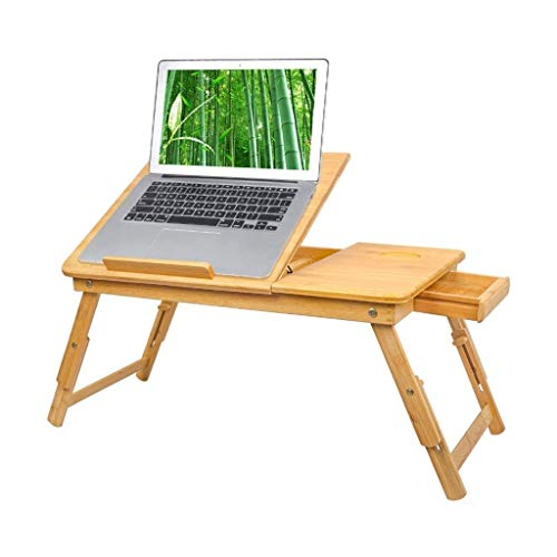 Bamboo Laptop Desk Tray, Computer Stand with Drawe Breakfast Serving Bed Trays, Adjustable Foldable with Flip Top and Legs, 0919