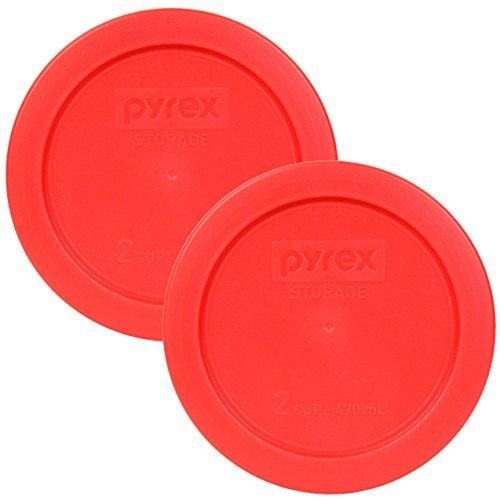Pyrex 5200 Red Round 2 Cup - Tapa para recipiente de cristal (2 unidades), color rojo