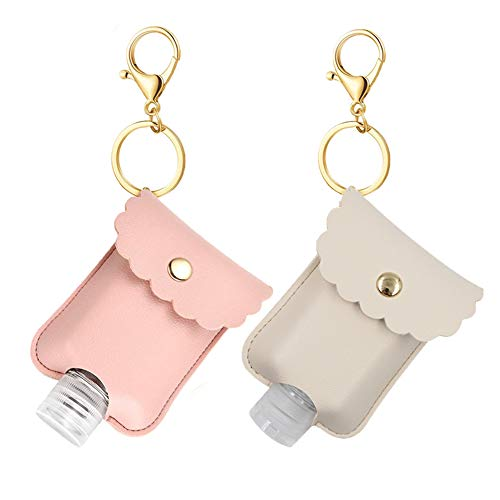 2 Pack Portable Squeeze Bottle, Empty Leakproof Plastic Travel Bottle with Leather Keychain Holder for Hand Sanitizer, Essential Oil, Refillable Bottle Clips to Travel Bag (Pink+Beige)