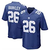 WSZS Men's Rugby Jersey NFL T-Shirt New York Giants 26# Barkley Child Short Sleeve Comfortable Breathable Sweatshirt, Sports Short Sleeve V-Neck T-Shirt