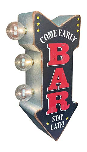 """BAR Double Sided LED Sign, Come Early Stay Late, Arrow Shaped, 12"""" Distressed Retro Vintage Metal Design, Battery Powered with Large Marquee Style Light Bulbs"""