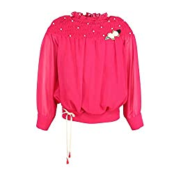 Cutecumber Girls Georgette Embellished Red Top