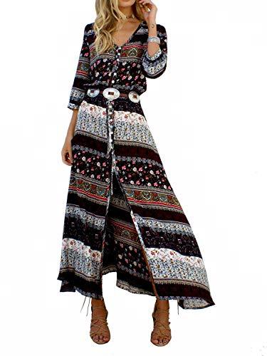 Yidarton Damen Sommerkleid Boho V-Ausschnitt Kleider Maxikleid Strandkleid Lang mit Schlitz (Braun, Medium)