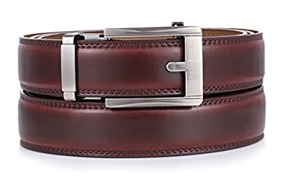 """Mio Marino Ratchet Belts for Men - Genuine Leather Dress Belt - Automatic Buckle (Pristinely Modern - Mahogany, Adjustable from 28"""" to 44"""" Waist)"""