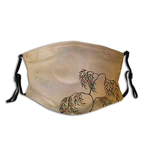 Face CO-VER Nature Weeping Willow Tree Garden Fantasy Birds Hazy Sky Space Wind Clouds Mouth Bandanas Outdoor Neck Gaiter