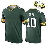 2020 dernier Football américain Rodgers Kirksey Funchess Love Packers Maillot de Rugby Uniforme Fans Broderie T-Shirt de Sport décontracté, Nettoyage répétable 10 Number-S