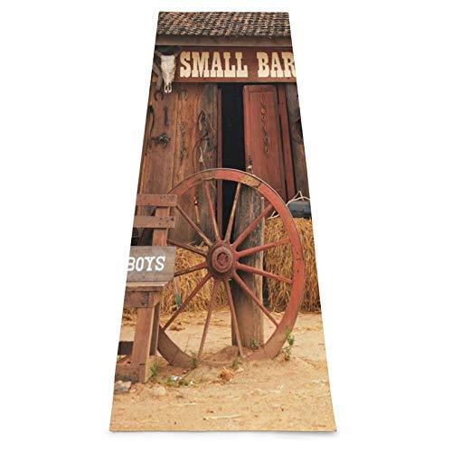 LOSUMIGE Esterilla Yoga Western Cowboy Back Drop Wild West Farmhouse Hay Bale Barn Door Telón de fondo Frontdoor Pajar Rueda Foto Colchonetas de ejercicio Pilates para entrenamiento en casa Gimnasio
