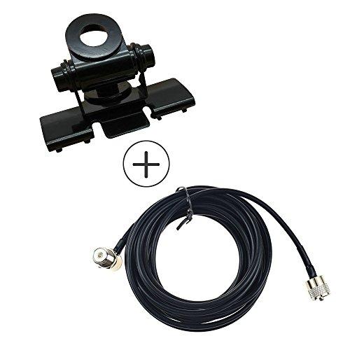 RB-400 Support de fixation pour antenne radio mobile avec câble de 5 m PL259 SO239 Cpmmectpr sur capot de coffre à hayon universel pour autoradio WOUXUN KENWOOD BAOFENG PUXING TYT HYT QYT, Noir