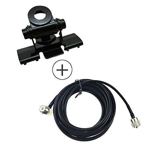 Auto Antenne Montage RB-400 Verstelbare Beugels + 5M Clip Mount Kabel PL259 SO239 Connector voor Walkie Talkie Mobiele Radio, Black