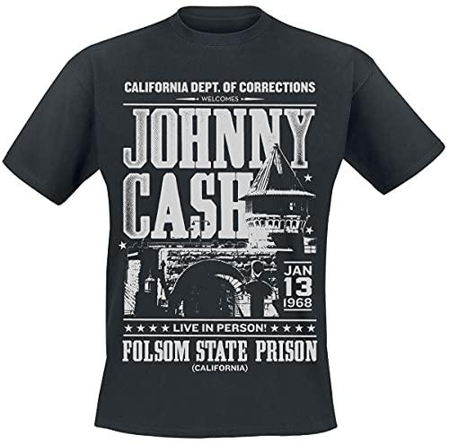 Johnny Cash Folsom State Prison Uomo T-Shirt Nero XXL 100% Cotone Regular