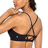 CRZ YOGA UPF 50+ High Neck Swimsuits for Women Bikini Top Cross Back Padded Sports Bra Black XX-Small
