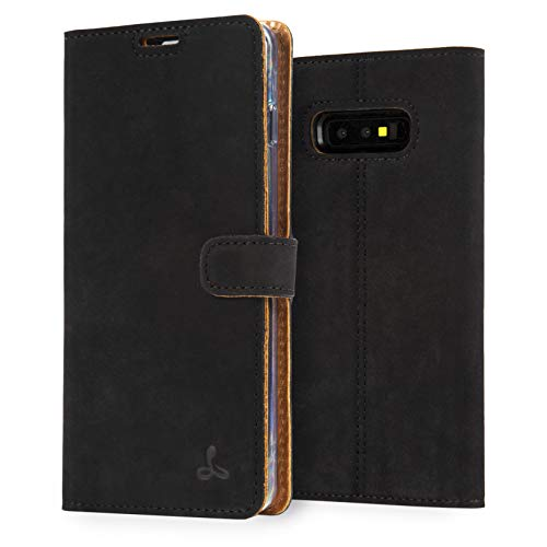 Snakehive S10e Schutzhülle/Klapphülle echt Lederhülle mit Standfunktion, Handmade in Europa für Samsung Galaxy S10e - (Schwarz)