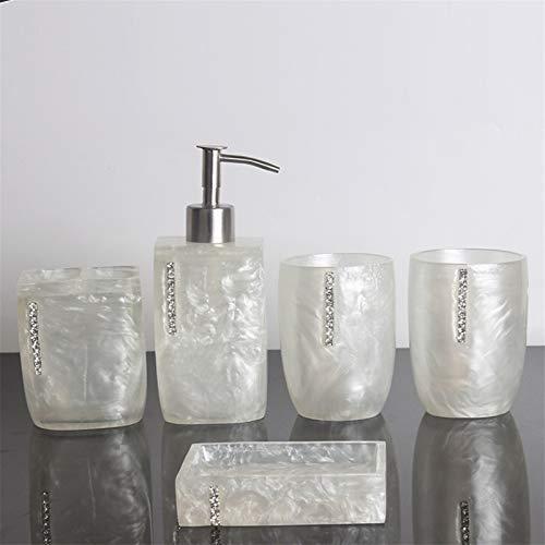 Dispensador de jabón El conjunto de accesorios de baño de resina de 5 piezas incluye el dispensador de jabón o el soporte del cepillo de dientes del dispensador, el vaso, la placa de jabón Agregue el