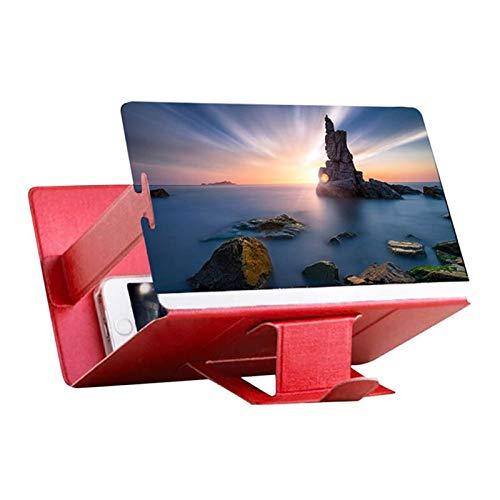 携帯電話のための普遍的な携帯電話のスマートフォン3 dスクリーンのHDのビデオアンプ拡大鏡のためのガラスブラケットホルダー拡大鏡プロジェクター (Color : Red)