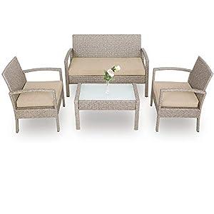 Deuba Poly Rattan Lounge Set Grau Beige 7cm Auflagen 2 Sessel 1 Bank & Tisch Sitzgruppe Gartenmöbel Garten Balkonset