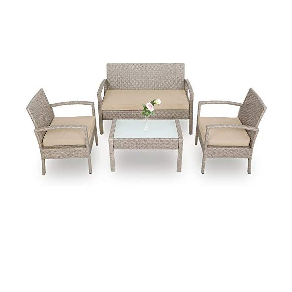 Deuba Poly Rattan Lounge Set Grau 7cm Dicke Auflagen 2 Sessel 1 Bank & 1 Tisch 7 TLG Balkon Sitzgruppe Gartenmöbel