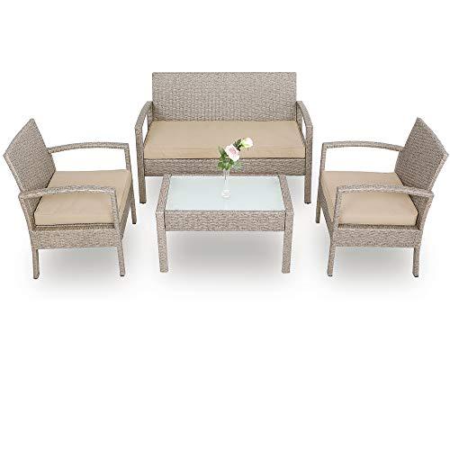 Deuba Conjunto de jardín de poliratán set de 1 mesa 2 sillas 1 banco Gris / Beige resistente a los rayos UV intemperie