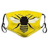 Cómodo estampado Shiled, Queen Bee, silueta de abeja con diseño despojado y alas detalladas abstractas, negro amarillo blanco, decoraciones faciales a prueba de viento para adultos Tamaño: M