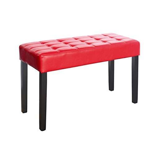 CorLiving California 24 Panel Bench in Red Leatherette, Red