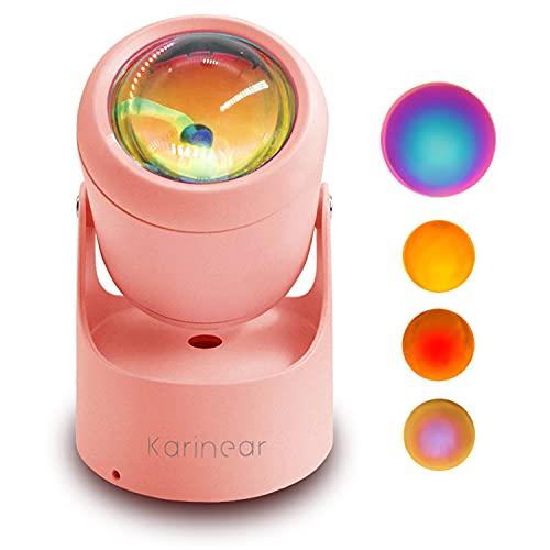 サンセットライト スポットライト led 照明道具 雰囲気ライト 生放送 インテリア 撮影小物 USB給電 180°回転可能 卓上/壁に固定可能 パーティー バーライト 補光灯 寝室用 ロマンチック ピンク Karinear (レインボー)