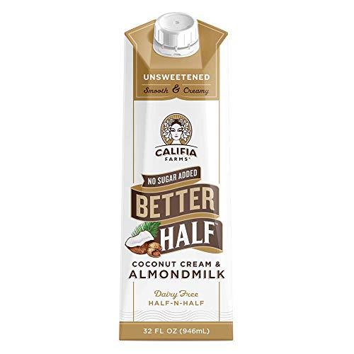 Califia Farms - Unsweetened Better Half Coffee Creamer, 32 Oz (Pack of 6) | Half and Half | Coconut Cream and Almond Milk | Non Dairy | Plant Based | Keto | Sugar Free | Zero Carb | Shelf Stable
