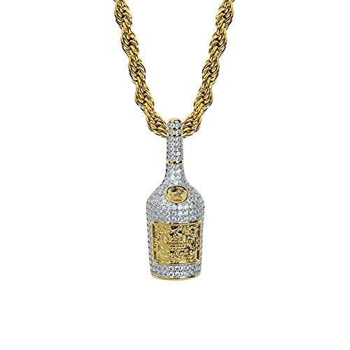 14K Gold Plated Simulated Diamond Champagne Bottle Pendant Necklace for Men Fashion Jewelry Gifts (Gold)