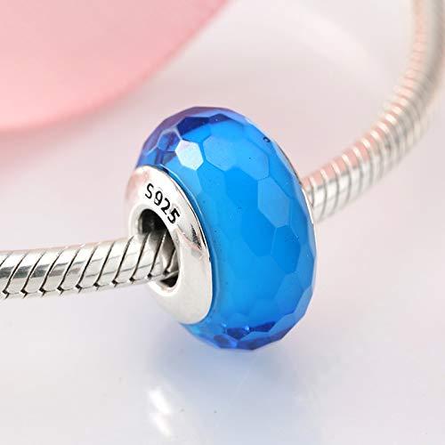 CH&NH Polígono Textura Charm Murano Glass Beads 925 Sterling Silver fit Original Charm Bracelet Jewelry 3