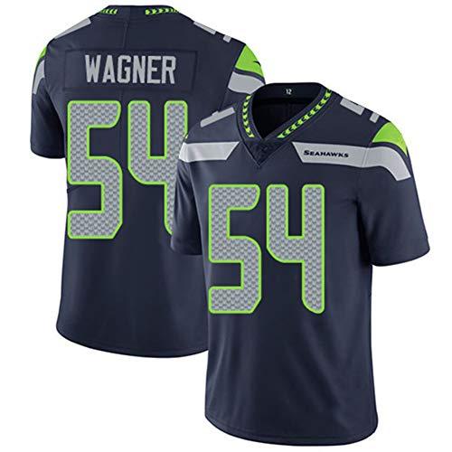 # 54 Bobby Wagner Rugby Trikot, American Football Trikot Sport Unisex Fans Trikots Atmungsaktives T-Shirt Stickerei Kurzarm-Black-L(180~185)
