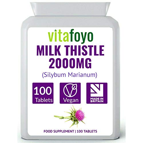 Milk Thistle Tablets 2000mg - 100 Pack - 80% Silymarin - for Liver & Gall Bladder Support - Vegan, GMO Free, Free from Gluten & Dairy - Made in The UK
