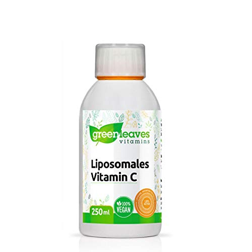 Greenleaves Vitamins Liposomales Vitamin C Doppelt Dosiert hochdosiert 250ml. Frei von: Gluten, Soja und Laktose. 100% Vegan