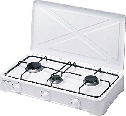 Bastilipo CG-300 Cocina de Gas Butano o Propano, 4 W, Estructura de Acero con Doble Capa de Esmalte, Blanco