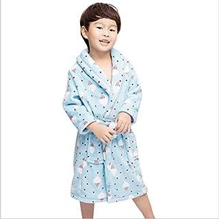 ZXJ Albornoz niños, Niños Espesa la Franela de la Bata de Terciopelo Coral Towelling Robe para los Bebés Niños Niñas,Azul,M