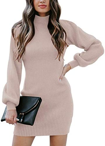Caracilia Women s Ribbed Long Sleeve Sweater Dress High Neck Slim Fit Knitted Midi Dress C14A5fen product image